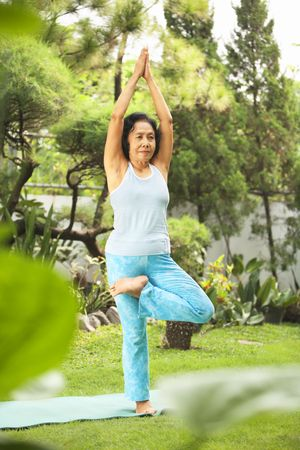 Senior Asian woman doing yoga at park in the morning Stock Photo - 6264370
