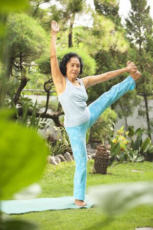 Senior Asian woman doing yoga at park in the morning Stock Photo - 6264345
