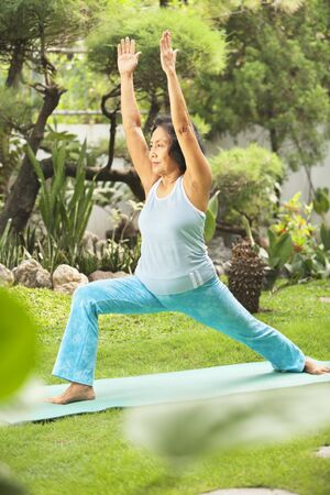mujer cuerpo entero: Senior mujer asi�tica haciendo yoga en el parque en la ma�ana Foto de archivo