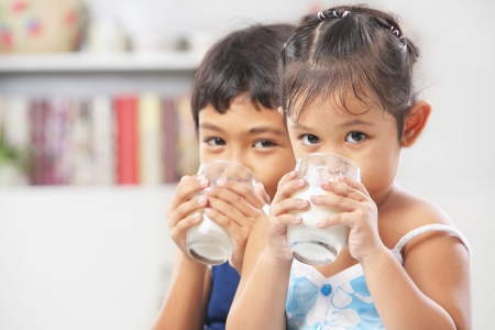 woman drinking milk: Two little boy and girl drinking milk at home Stock Photo