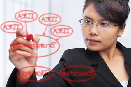 Asian businesswoman writing or drawing a diagram on glass board photo