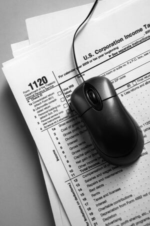 online form: Online tax from concept using tax form and mouse