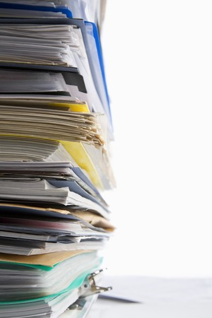 Pile of paperwork shot against white background Stock Photo - 7283985