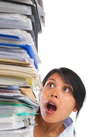 ps: Asian lady surprised by high pile of paperwork. ******* PS: stitching image *******