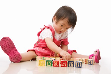 ps: Asian female toddler playing on the floor alone. PS: main focus on the word growth