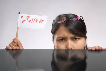 Woman expressing her angry with flag made of paper and pencil Stock Photo - 7283134