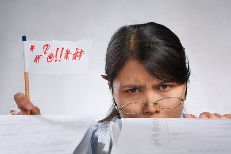 Woman expressing her angry with flag made of paper and pencil Stock Photo - 7283163