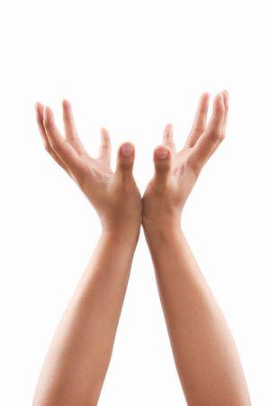 dark skin: Supporto gesto di mani di tono di pelle scura, su sfondo bianco