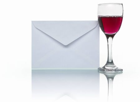 PHOTOGRAPH (NOT illustration or 3D render) of envelope mail and a glass of wine to symbolize party or event invitation, shot against white background. *****PS:aditional height for the reflection effect, without enlarge the original image***** Stock Illustration - 7283736