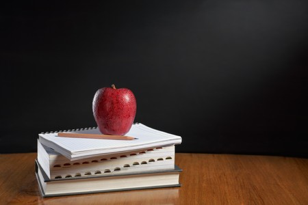 shool: Red apple over pile of books for shool concept