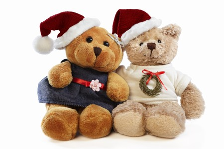 Christmas teddy bear dolls Stock Photo