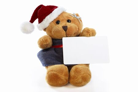 Christmas teddy bear doll holding blank paper