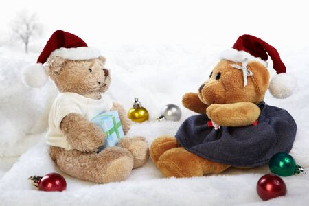 Christmas teddy bear dolls photo