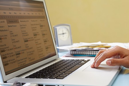 unrecognizable people: Hand using laptop in office to organize the schedule, unrecognizable people Stock Photo