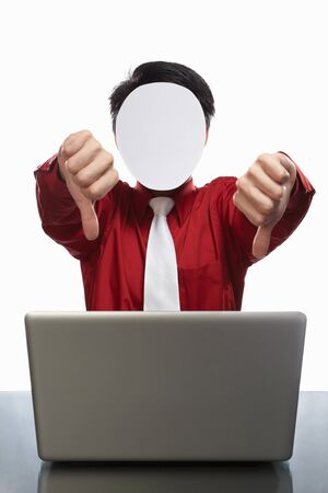 Series of faceless businessman with different gestures in front of his laptop, isolated on white Stock Photo - 7988262