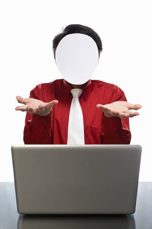shrugged: Series of faceless businessman with different gestures in front of his laptop, isolated on white Stock Photo
