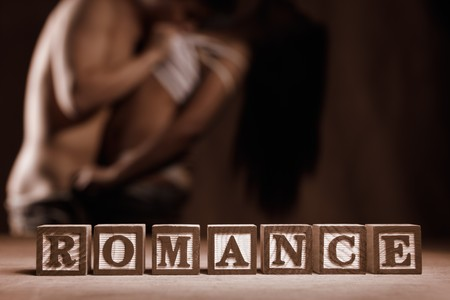 sex activity: Word Romance and peoplecouple in love doing sex activity in dark area as background
