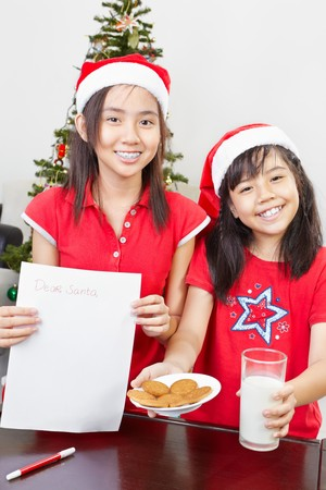 Kids showing a blank letter to Santa for their wishes photo