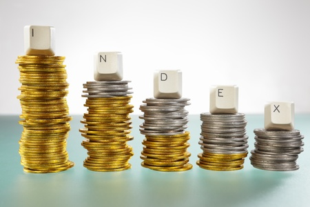 INDEX word over graph like  coin stacks shapes declining graph Stock Photo - 9113095
