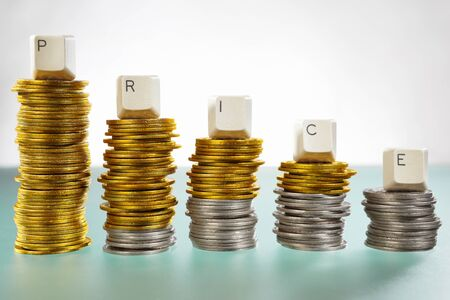 PRICE word over graph like  coin stacks shapes declining graph Stock Photo - 9113104