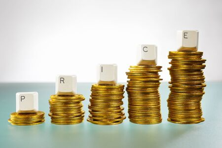 PRICE word over graph like  coin stacks shapes inclining graph Stock Photo - 9113062