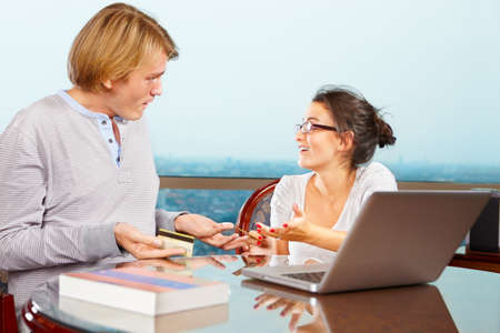 encountered: Couple having discussion about financial problem they encountered Stock Photo