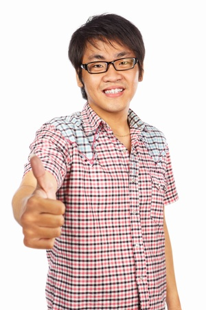 Chinese male young adult with thumb up, isolated on white background