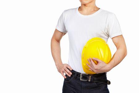 ingeniero civil: Mujer ingeniero civil parte del cuerpo con casco de seguridad amarillo aislado sobre fondo blanco Foto de archivo