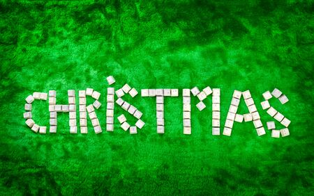 larger: Christmas word made from keybaord pieces. **PS: background were stitched to be larger**