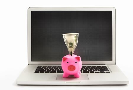 Pink piggy bank on the laptop over white background Stock Photo - 12750964