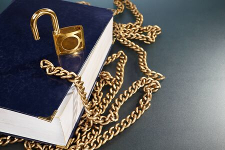 hard cover: A hard cover book with golden chain and lock