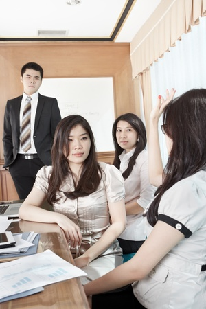 Businesswoman raise hand to ask the manager in a briefing Stock Photo - 12751303
