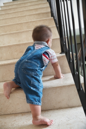 Baby boy crawling alone on stairs, very dangerous. ***PS ; movement blur ***
