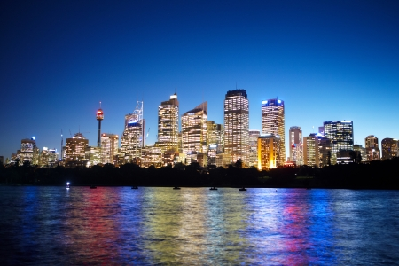 Sydney CBD area taken at nite from the harbour side Stock Photo