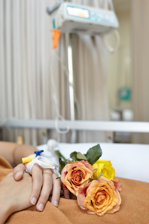 catheters: Flower on the patient body while she was sleeping