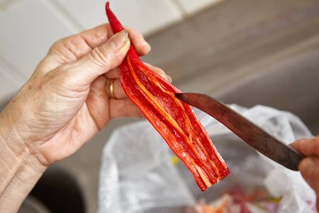 chilli pepper: Hand cutting and cleaning chilli pepper form its seeds Stock Photo