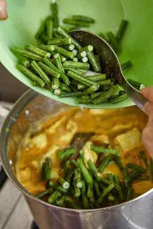 long bean: Add long bean to lodeh or vegetables in coconut milk soup Stock Photo