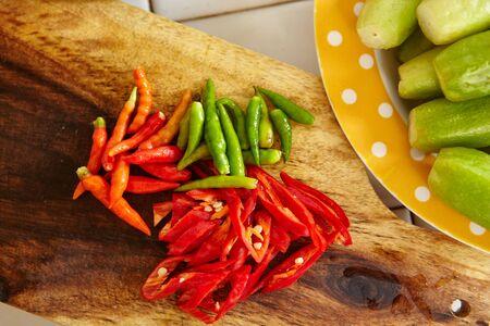 bilimbi: Preparing ingredient, the chillies to cook stir fry spicy tuna in the kitchen Stock Photo