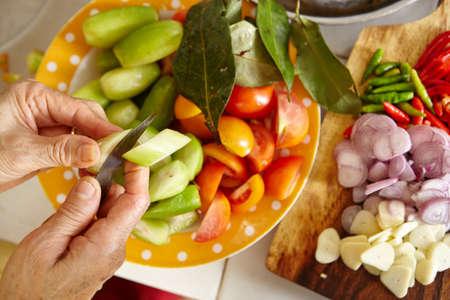 bilimbi: Preparing ingredient to cook stir fry spicy tuna in the kitchen