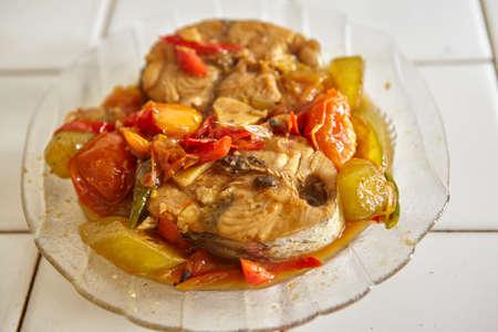 bilimbi: Stir fry spicy tuna ready to be served Stock Photo