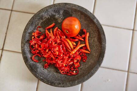 pebles: Chillies for making sambal