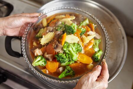 cai: Ready to serve stir fried cap cai or mixed vegetable, chinese cuisine in Indonesia Stock Photo