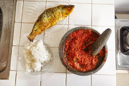 sambal: Sambal for sidedish with steamed rice and fried fish Stock Photo