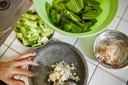 bok choy: Ingredient for stir fried bok choy Stock Photo
