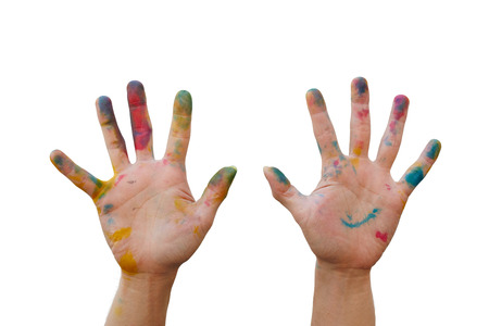 10 fingers: Messy hand with colourful tint make a hand gesture