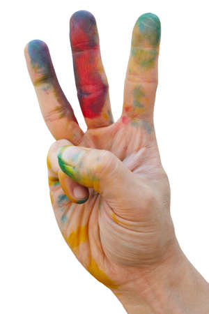 creative artist: Messy hand with colourful tint make a hand gesture