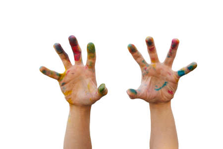 messy: Messy hand with colourful tint make a hand gesture