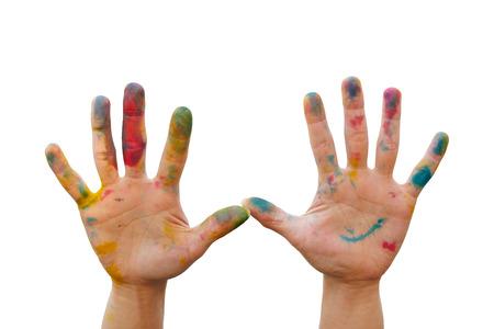 Mano desordenado con el tinte colorido hacer un gesto con la mano Foto de archivo - 57998856