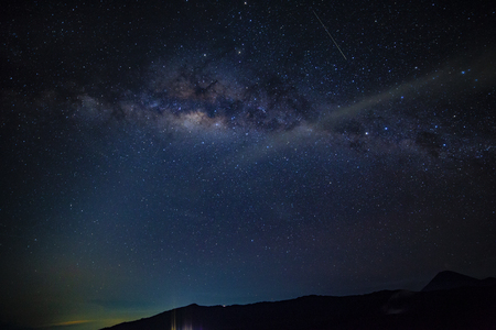Milky way on dark night in Indonesia mountain range
