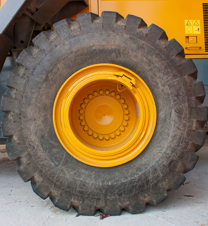 huge wheel of loader machine photo